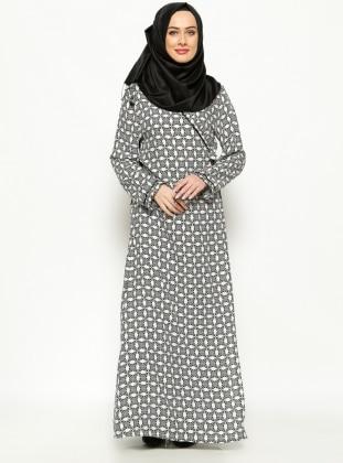 Desenli Namaz Elbisesi - Siyah -Beyaz - Me Like