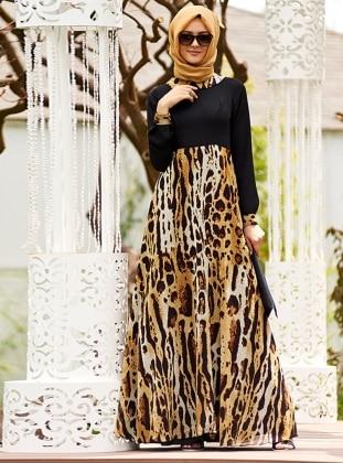 Leopar Etekli Şifon Elbise - Siyah - Nilüfer Kamacıoğlu