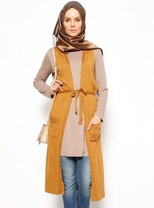 Triko Yelek - Camel - Seyhan Fashion