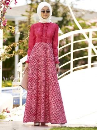 Fırfırlı Elbise - Nar Çiçeği - Nilüfer Kamacıoğlu