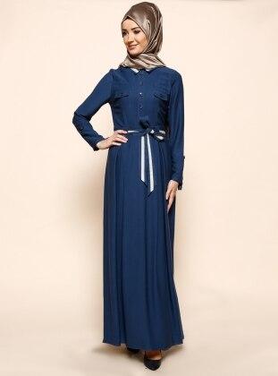 Düğme Süslü Elbise - Lacivert