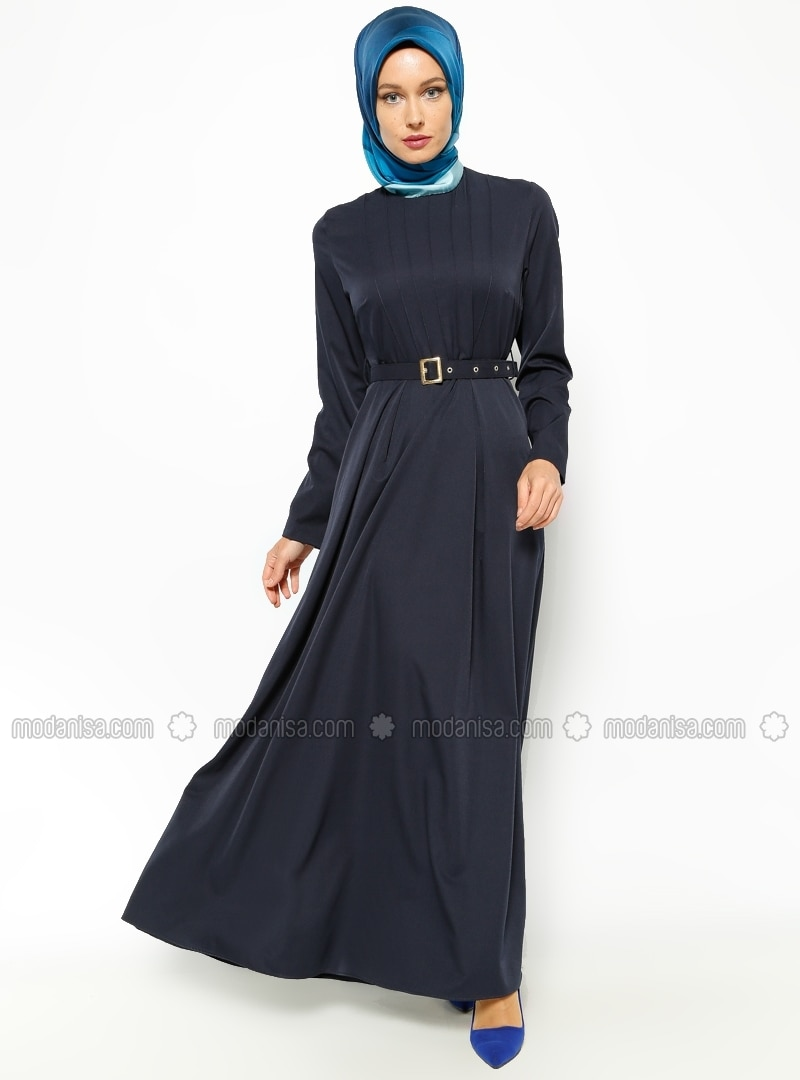 belted dress navy blue dresses modanisa