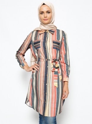 Striped Tunic - Orange - Belle Belemir 216502