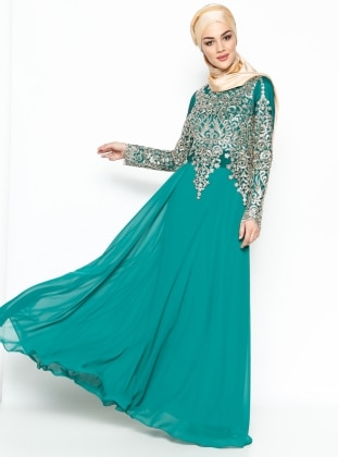 Lace Detailed Evening Dress - Green/Gold - MODAYSA 216380
