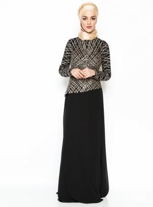 Payetli Asimetri Desen Abiye Elbise - Siyah
