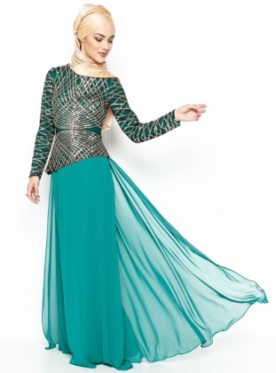 Sequined Evening Dress - Green - MODAYSA 216361
