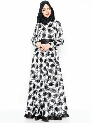 Puantiyeli Abiye Elbise - Siyah