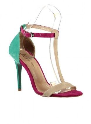 High Heels - Nude/Fuchsia/Green - Fox Shoes 216904