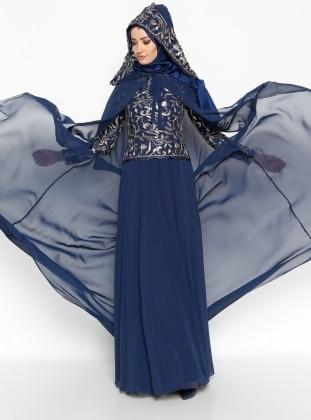 Evening Dress - Navy Blue - Mislina 216951