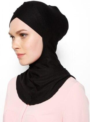 Büyük Hijab Çapraz Bone - Siyah - Ecardin
