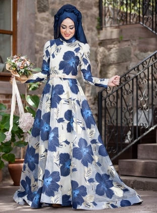 Orchid Evening Dress - Navy Blue - Minel Ask 220125
