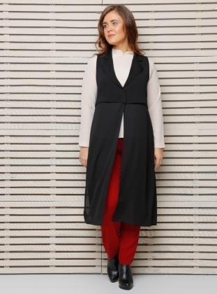 Shawl Collar Vest - Black - Alia