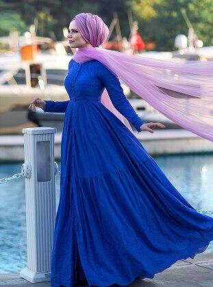 cotton Dress - Saxe - Muslima Wear
