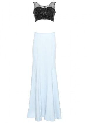 Embellished Embroidered Evening Dress - Blue - Mileny 221650