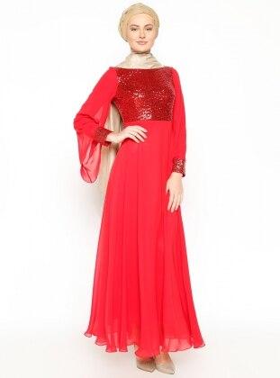 Şifon Abiye Elbise - Kırmızı - Modaysa