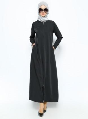 Zippered Abaya - Black - ModaNaz 224592
