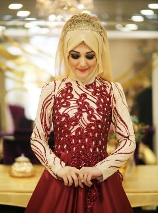 Grape Evening Dress - Maroon - Minel Ask 225793