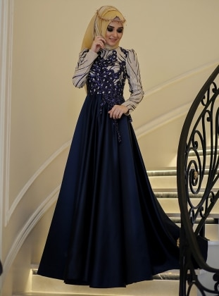 Grape Evening Dress - Navy Blue - Minel Ask 225797