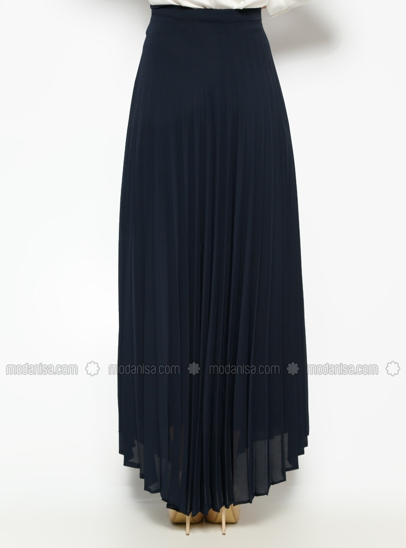 pleated skirt navy blue skirts modanisa