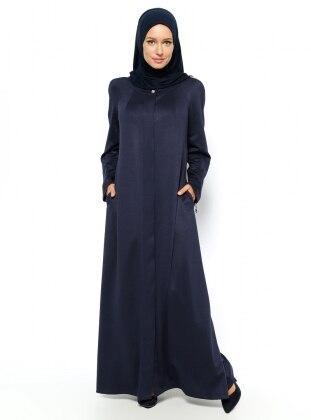 Hidden Button Abaya - Navy Blue - Vivezza