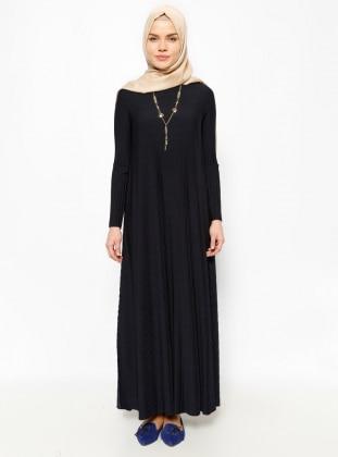 Pleated Evening Dress - Navy Blue - Mileny 228188