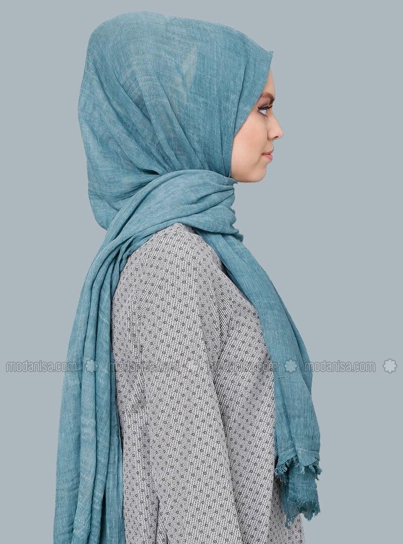 wash cotton scarf petrol shawls modanisa