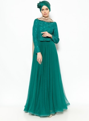 Laced Evening Dress - Green - MODAYSA 229156