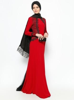 Modaysa Güpür Detaylı Abiye Elbise - Bordo