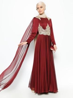 Güpür Detaylı Abiye Elbise - Bordo