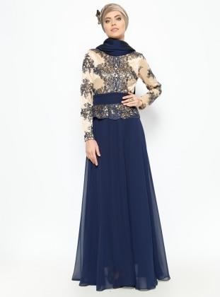 Guipure Detailed Evening Dress - Navy Blue - MODAYSA 229171