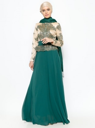 Guipure Detailed Evening Dress - Green - MODAYSA 229173