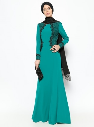 Guipure Detailed Evening Dress - Green - MODAYSA 229161