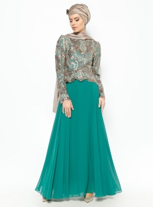 Sequined Evening Dress - Gold - Green - MODAYSA 229165