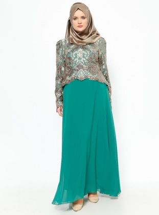 Sequined Evening Dress - Gold / Green - MODAYSA 229185
