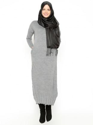 Knitted Dress - Dark Gray - Zentoni