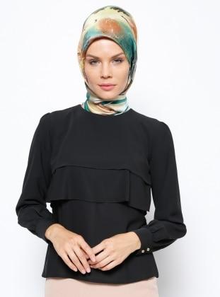Fırfırlı Bluz - Siyah - Tuncay