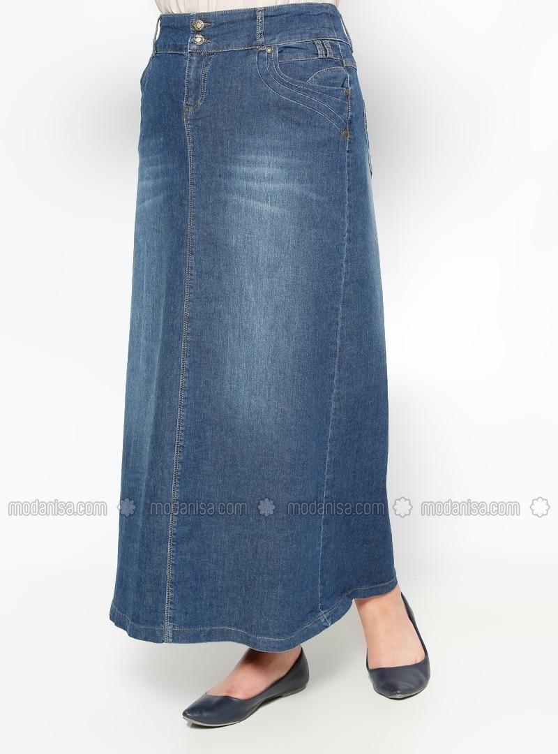 denim skirts navy blue plus size skirts modanisa