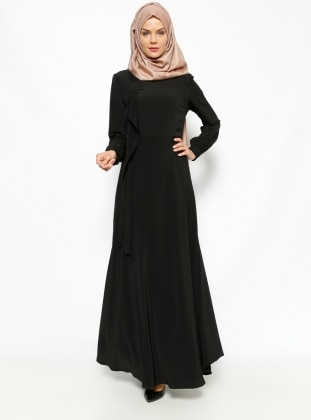 Fisherman Collar Dress - Black - Esswaap 231358