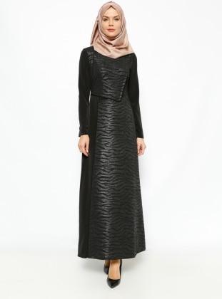 Leather Detail Dress - Black - Esswaap 231321