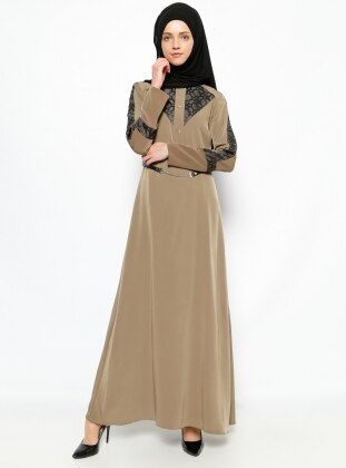 Leather Detail Dress - Green - Esswaap 231307