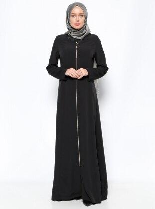 Zippered Abaya - Black - Esswaap