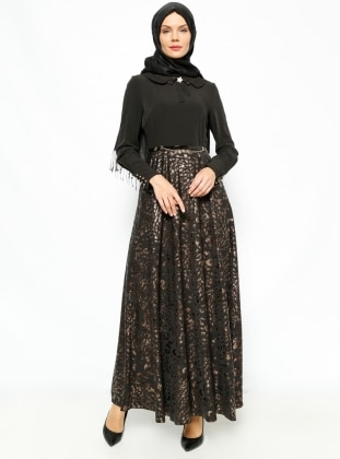 Jacquard Dress - Black - Esswaap 231320