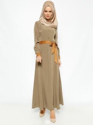 Suede Collar Dress - Green - Esswaap 231323