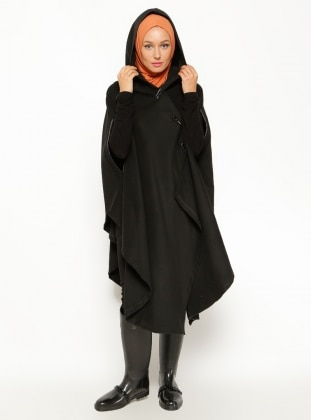 Leather Detail Poncho - Black - Sultan-i Yegah