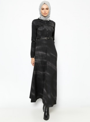 Kemerli Elbise - Siyah - Jamila