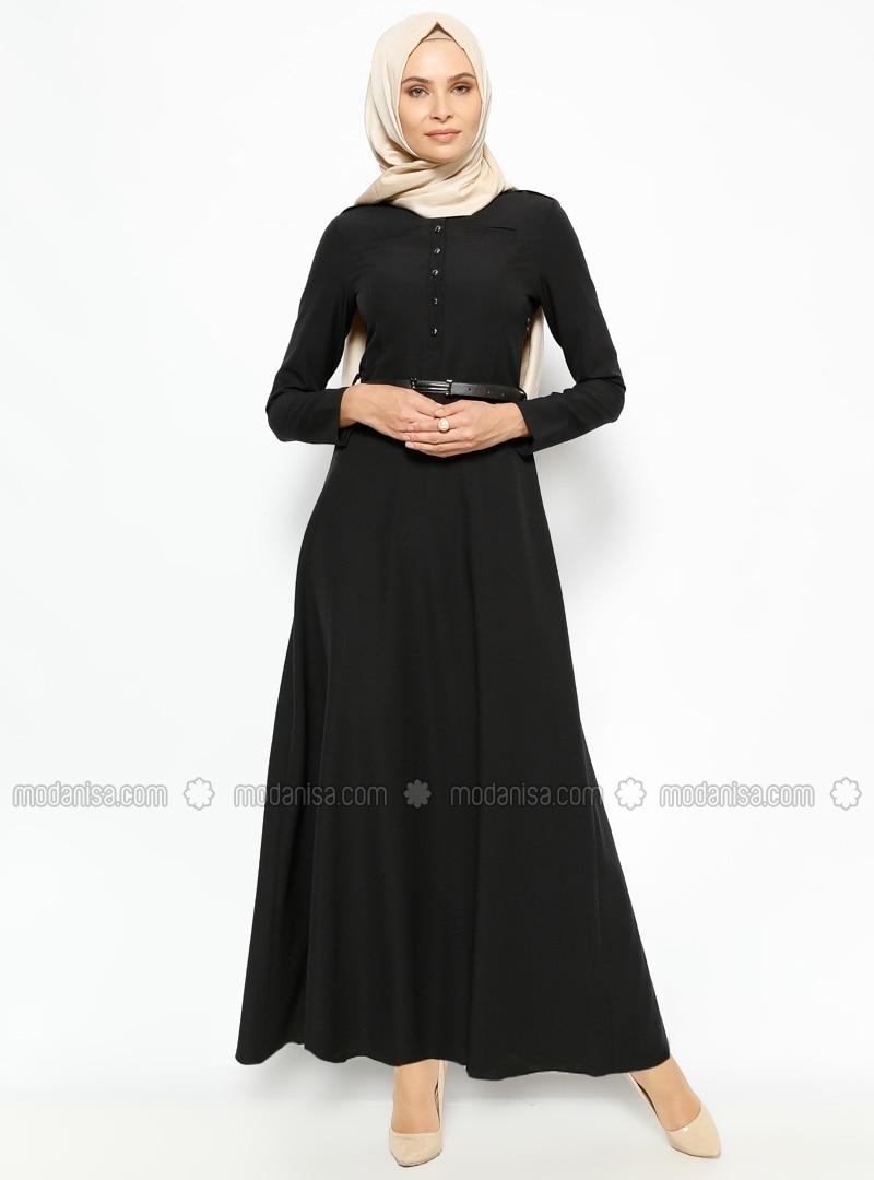 belted dress black dresses modanisa