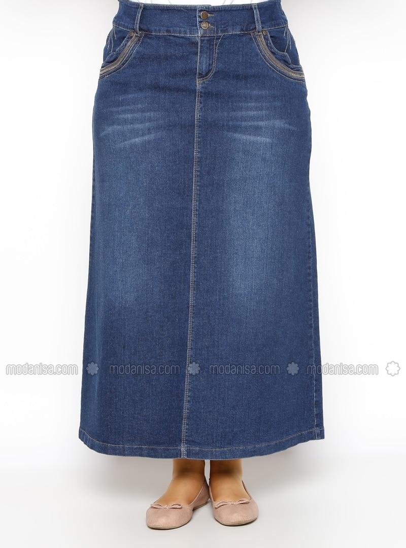 denim skirt navy blue plus size skirts modanisa
