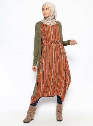Striped Sleeveless Tunic - Coral - Neways 234277