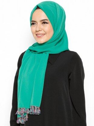 Renkli Püsküllü Krep Şal - Yeşil Mirach