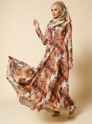 Desenli Elbise - Mercan